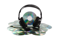 Cd and headphone. On image headphone and Cd collection Stock Photos