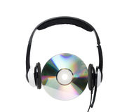 Cd and headphone. Royalty Free Stock Photography
