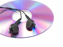 CD and headphone. On white background royalty free stock photos