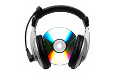 Cd and headphone. Cd-rom and headphone Royalty Free Stock Photography