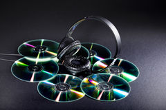 Cd and headphones Royalty Free Stock Images
