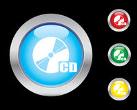 CD icons. CD glass button icons. Please check out my icons gallery Royalty Free Stock Photography