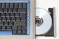 CD In Laptop... View From Top. Royalty Free Stock Images
