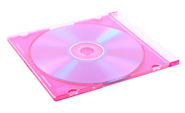 CD in jewel case. CD in pink jewel case isolated on white background Stock Photos