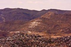 CD Juarez Bible Mountain-1. Photo of Bible Mountain in Juarez, Mexico; English translation 'The Bible is the Truth, Read It Stock Photos