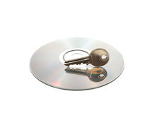 Cd and Key. Isolated CD and Key Royalty Free Stock Photos