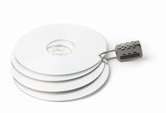 CD lock. Four CD, fastened by the code lock on a white background Royalty Free Stock Photo