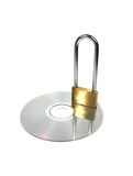 Cd & Lock. Isolated Cd and Lock Royalty Free Stock Images