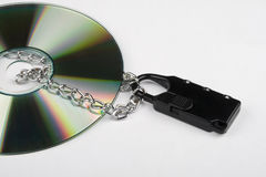 CD with Lock and Chain Stock Photo