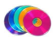 CD multicolore, disques de DVD Photographie stock libre de droits