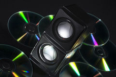 Cd and music boxes stock photos