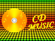 Cd music- illustration. Cd music isolated on dots background Stock Photography