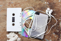 Cd with music player and cassette tape Royalty Free Stock Photography
