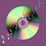 Cd music world. An image showing cd music discs and musical notes on a background for the internet world Royalty Free Stock Photos