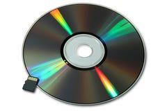 CD oder DVD und grelle Mikrokarte Lizenzfreies Stockbild