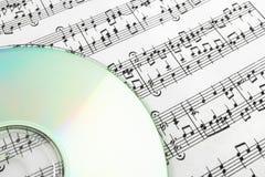 CD op bladmuziek Royalty-vrije Stock Foto