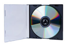 CD in the open box isolated. Royalty Free Stock Photo