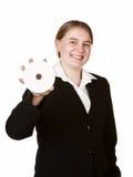 Cd ou dvd da terra arrendada da mulher de negócio Imagem de Stock