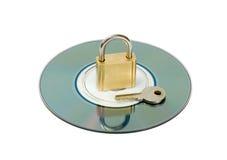cd padlock ключа диска Стоковые Изображения RF