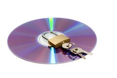 CD and padlock isolated on whi. Te Royalty Free Stock Photos