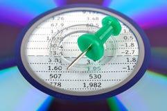 CD, pino de desenho e folha de dados Fotos de Stock