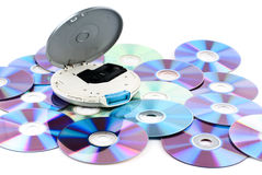 CD-player. CD-player with compact discs. White background. Studio shot Royalty Free Stock Image