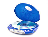 CD Player. Portable CD player on white background Stock Photography