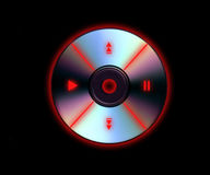 CD Player Black. A CD with MP3 style glowing red controls on a black background royalty free stock images