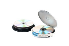 CD-player and CDs. CD-playerwith compact discs. White background. Studio shot Stock Photos