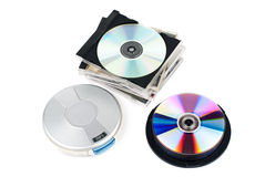 CD-player with CDs. CD-Player with compacr discs. White background. Studio shot Stock Images