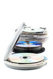 CD-Player and CDs. CD-Player with compact discs. White background. Studio shot Stock Images