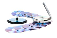 CD-player and CDs. Royalty Free Stock Image