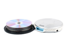 CD-player and CDs. CD-Player with comcact disks. White background. Studio shot Stock Photography