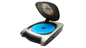 Cd player device. Cd player external device with blue cd inside stock photography