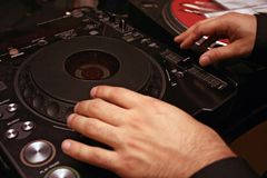 CD Player - DJ - 2. DJ performance with profi CD player Royalty Free Stock Images