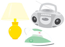 CD player, lamp and iron Royalty Free Stock Photography