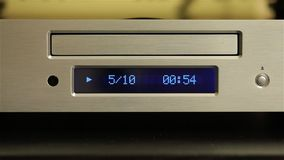 Cd player playing a disc stock video