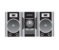 Cd player and speakers illustr Stock Photos
