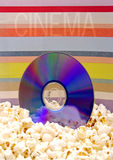 CD in popcorn stock fotografie