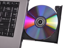 Cd-rom. Recordable side of cd in the notebook DVD rom Royalty Free Stock Images