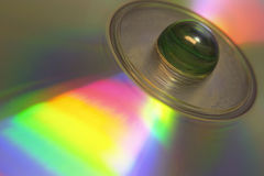 Cd-rom. Marble on cd-rom royalty free stock image