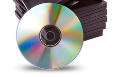 Cd-rom with black boxes Stock Image