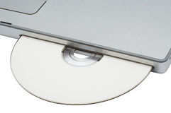 CD-ROM drive in modern notebook Royalty Free Stock Images
