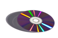 CD Rom or DVD. Colourful play of light on a CD Rom or DVD used for data storage on a computer , studio shot on a white background with shadow Royalty Free Stock Image