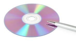 CD-rom met een pen Royalty-vrije Stock Afbeeldingen