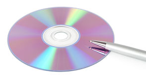 CD-ROM with a pen Royalty Free Stock Images