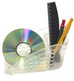 CD-ROM, pluma, regla Imágenes de archivo libres de regalías
