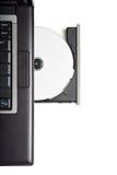 CD-romaandrijving van Dvd in laptop Stock Foto