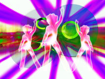 CD's Or DVD's 5 With Women. An image of what could be some DVD's or CD's. With some women disco dancing in the foreground Stock Image