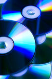 Cd's/dvd's. Few dvd's in blue tone Stock Images